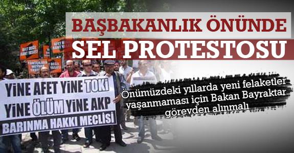 Samsun'da Yaşanan Sel Felaketi Başbakanlık Önünde Protesto Edildi