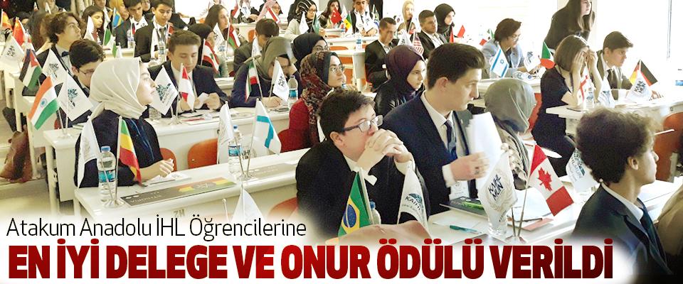 Atakum Anadolu İHL Öğrencilerine En İyi Delege Ve Onur Ödülü Verildi
