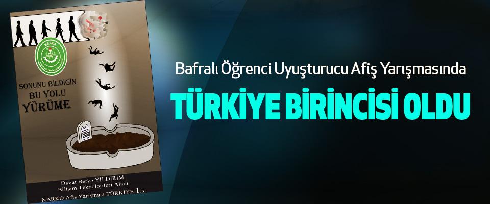 Bafralı Öğrenci Uyuşturucu Afiş Yarışmasında Türkiye Birincisi Oldu