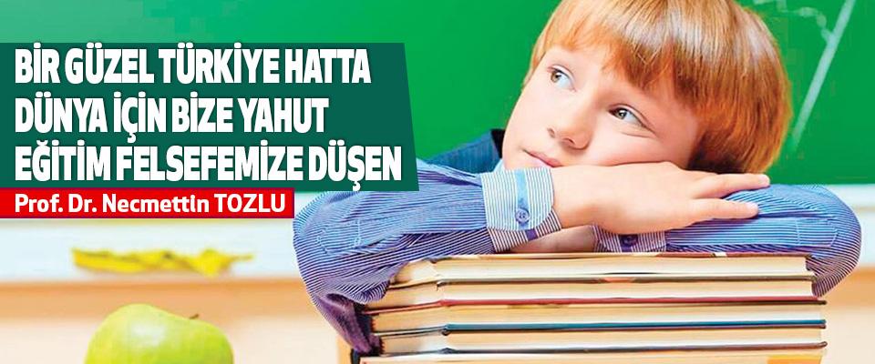 Bir Güzel Türkiye Hatta Dünya İçin Bize Yahut Eğitim Felsefemize Düşen