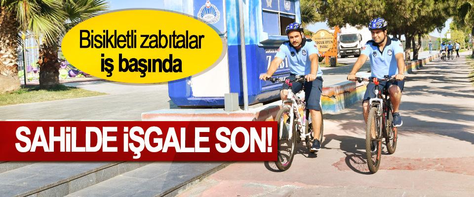 Bisikletli zabıtalar iş başında, Sahilde işgale son!