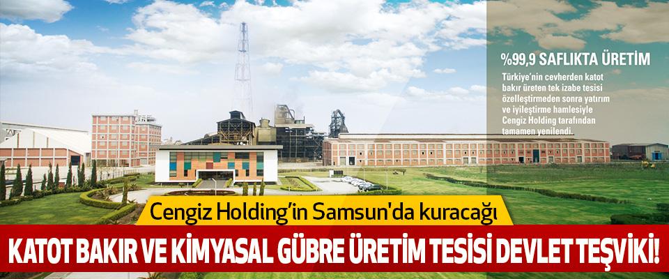 Cengiz Holding'in Samsun'da kuracağı  Katot bakır ve kimyasal gübre üretim tesisi devlet teşviki!