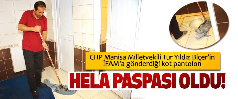CHP Manisa Milletvekili Tur Yıldız Biçer'in İFAM'a gönderdiği kot pantolon Hela paspası oldu!
