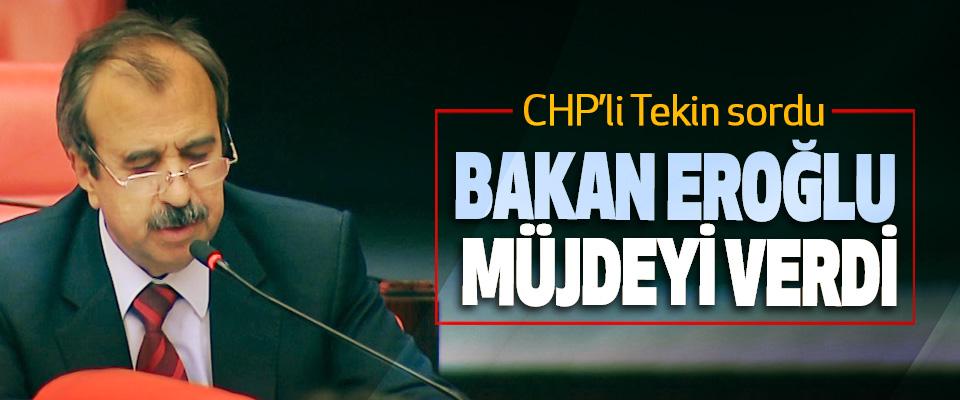 CHP'li Tekin sordu, Bakan Eroğlu Müjdeyi Verdi