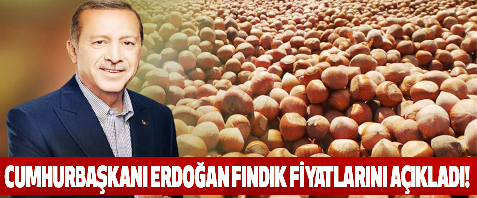 Cumhurbaşkanı Erdoğan fındık fiyatlarını açıkladı.