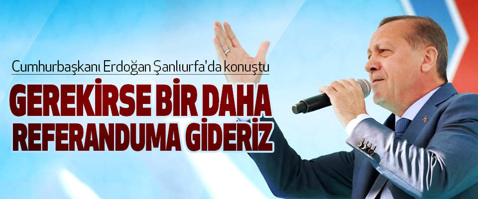 Cumhurbaşkanı Erdoğan: Gerekirse Bir Daha Referanduma Gideriz