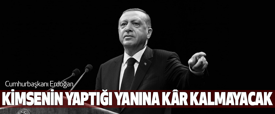 Cumhurbaşkanı Erdoğan, Kimsenin Yaptığı Yanına Kâr Kalmayacak