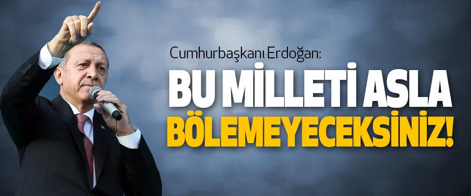 Cumhurbaşkanı Erdoğan, Bu milleti asla bölemeyeceksiniz!