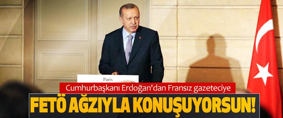 Cumhurbaşkanı Erdoğan'dan Fransız gazeteciye: Fetö ağzıyla konuşuyorsun!