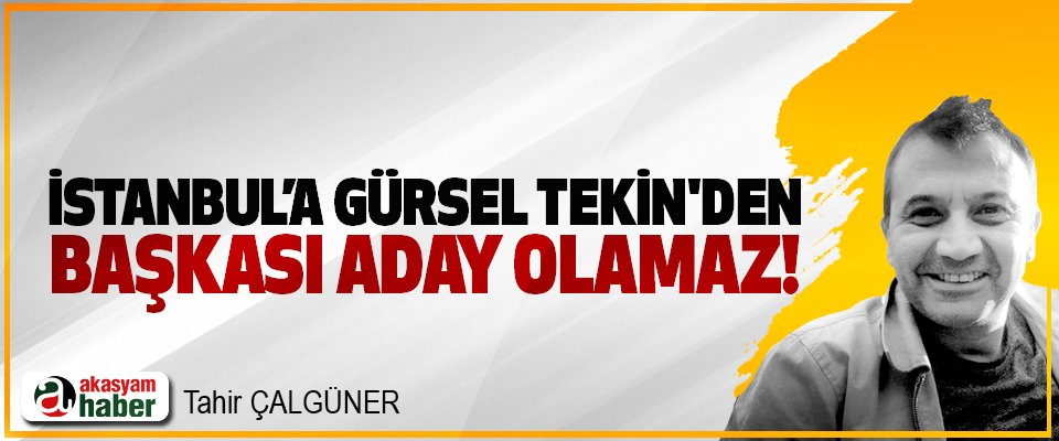 İstanbul'a Gürsel Tekin'den başkası aday olamaz!