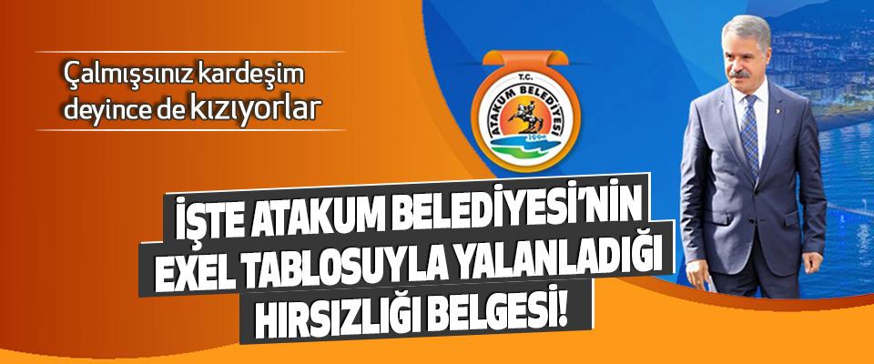 İşte Atakum Belediyesi'nin Exel Tablosuyla Yalanladığı Hırsızlığı Belgesi!