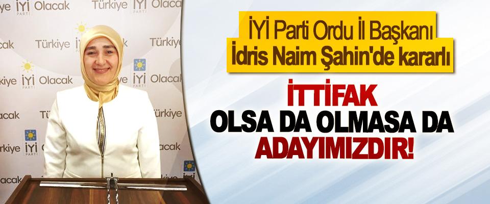 İYİ Parti Ordu İl Başkanı İdris Naim Şahin'de kararlı İttifak olsa da olmasa da adayımızdır!