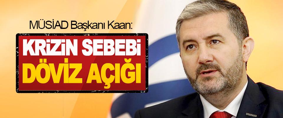 MÜSİAD Başkanı Kaan: Krizin Sebebi Döviz Açığı