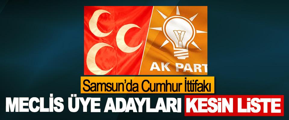 Samsun'da Cumhur İttifakı Meclis Üye Adayları Kesin Liste