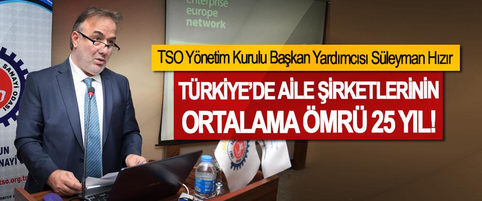 TSO Yönetim Kurulu Başkan Yardımcısı Süleyman Hızır: Türkiye'de aile şirketlerinin ortalama ömrü 25 yıl!