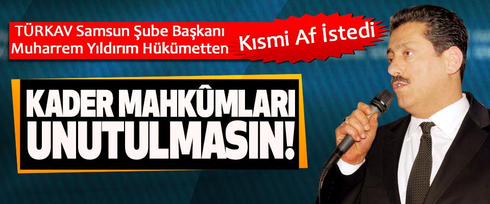 TÜRKAV Samsun Şube Başkanı Muharrem Yıldırım Hükümetten Kısmi Af İstedi