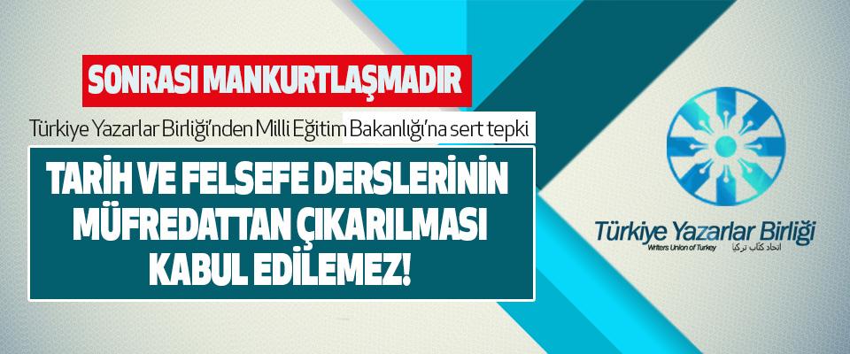 Türkiye Yazarlar Birliği'nden Milli Eğitim Bakanlığı'na sert tepki