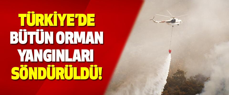 Türkiye'de Bütün Orman Yangınları Söndürüldü!