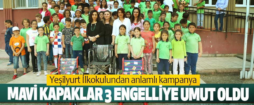Yeşilyurt İlkokulundan anlamlı kampanya, Mavi Kapaklar 3 Engelliye Umut Oldu