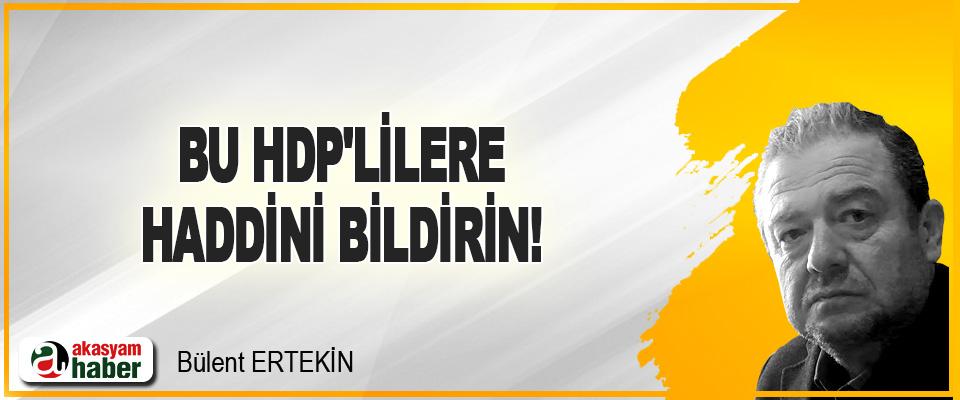 Bu HDP'lilere, Haddini Bildirin!