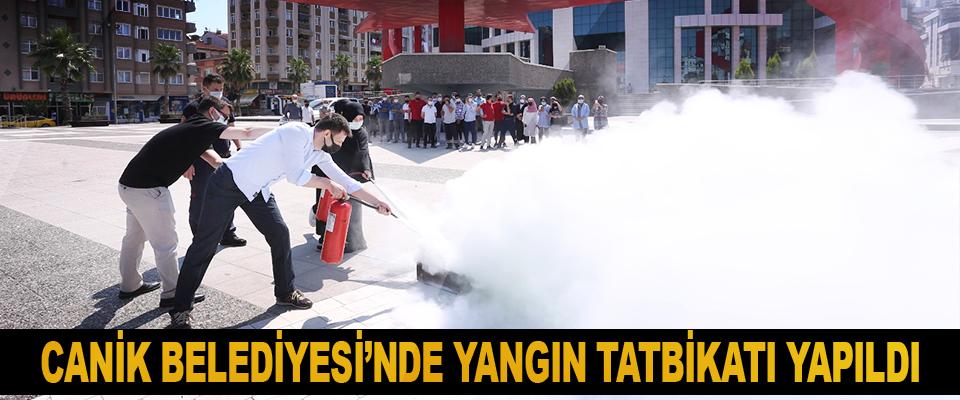 Canik Belediyesi'nde Yangın Tatbikatı Yapıldı
