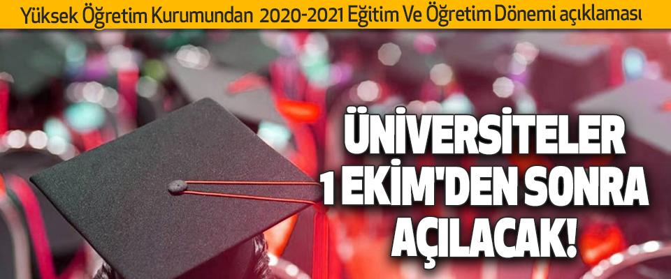 YÖK'ten 2020-2021 Eğitim Ve Öğretim Dönemi açıklaması