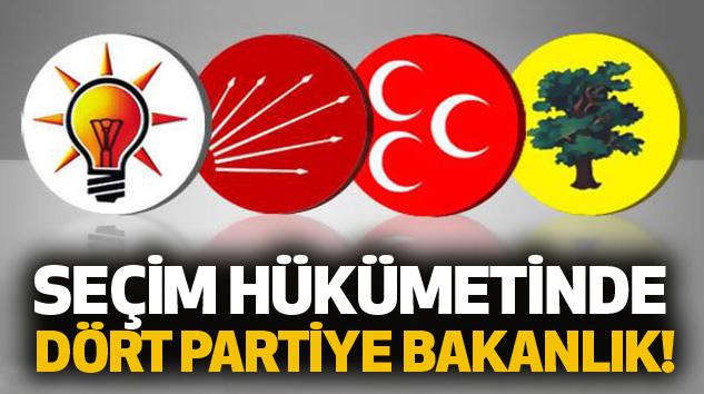 Seçim hükümetinde dört partiye bakanlık!