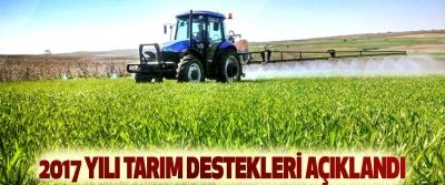 2017 Yılı Tarım Destekleri Açıklandı