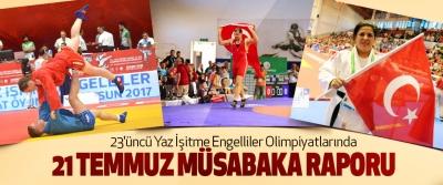 23.Yaz İşitme Engelliler Olimpiyatlarında 21 Temmuz Müsabaka Raporu