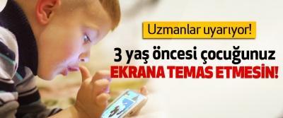 3 yaş öncesi çocuğunuz Ekrana Temas Etmesin!