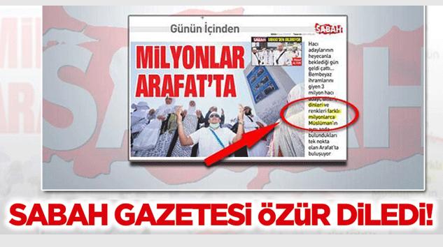 Sabah Gazetesi O Yazı İçin Özür Diledi