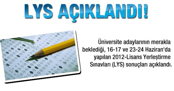 2012 LYS sonuçları açıklandı