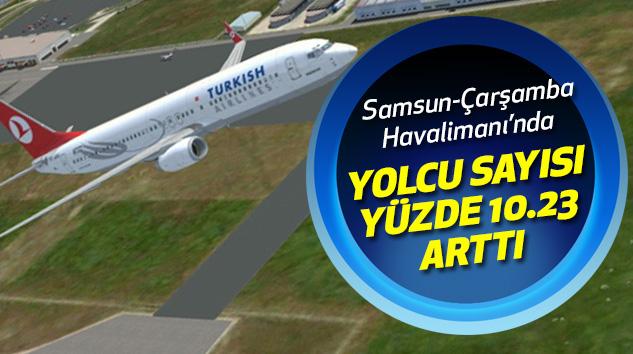 Samsun-Çarşamba Havalimanı'nda Yolcu Sayısı Yüzde 10.23 Arttı