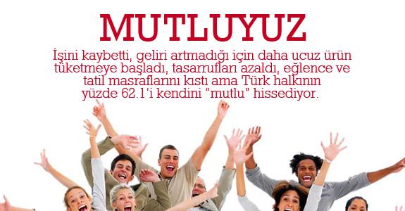 Türk Halkının yüzde 62.1'i mutlu..