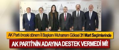 AK Parti önceki dönem İl Başkanı Muharrem Göksel 31 Mart Seçimlerinde Ak Parti'nin adayına destek vermedi mi!