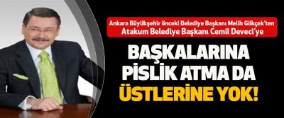 Ankara Büyükşehir önceki Belediye Başkanı Melih Gökçek'ten Atakum Belediye Başkanı Cemil Deveci'ye  Başkalarına Pislik Atma Da Üstlerine Yok!