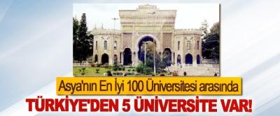 Asya'nın En İyi 100 Üniversitesi arasında Türkiye'den 5 üniversite var!