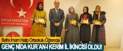 Bafra İmam Hatip Ortaokulu Öğrencisi Genç Kida Kur´an-ı Kerim il ikincisi oldu!