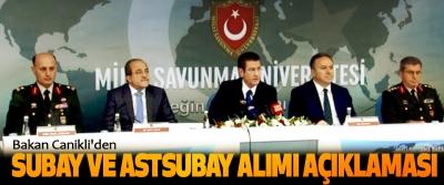 Bakan Canikli'den Subay Ve Astsubay Alımı Açıklaması
