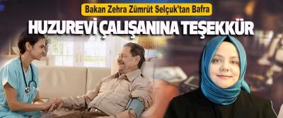 Bakan Zehra Zümrüt Selçuk'tan Bafra Huzurevi Çalışanına Teşekkür