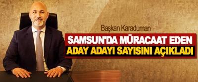Başkan Karaduman Samsun'da Müracaat Eden Aday Adayı Sayısını Açıkladı