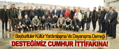 Bayburtlular Kültür Yardımlaşma Ve Dayanışma Derneği: Desteğimiz cumhur ittifakına!