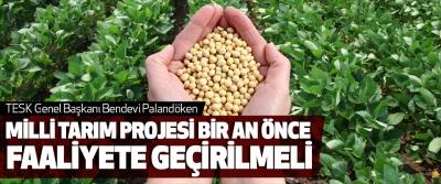 Bendevi Palandöken, Milli Tarım Projesi Bir An Önce Faaliyete Geçirilmeli