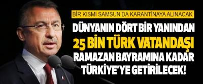 Bir Kısmı Samsun'da Karantinaya Alınacak