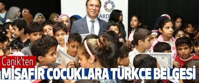 Canik'ten Misafir Çocuklara Türkçe Belgesi