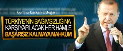 Cumhurbaşkanı Erdoğan: Türkiye'nin Bağımsızlığına Karşı Yapılacak Her Hamle Başarısız Kalmaya Mahkûm