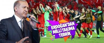 Cumhurbaşkanı Erdoğan'dan Milli Takıma Tebrik