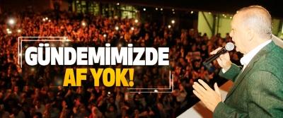 Cumhurbaşkanı Erdoğan:  Gündemimizde af yok!