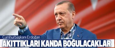 Cumhurbaşkanı Erdoğan:  Akıttıkları Kanda Boğulacaklar