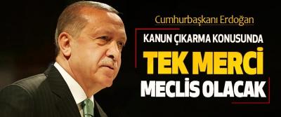 Cumhurbaşkanı Erdoğan:  Kanun Çıkarma Konusunda Tek Merci Meclis Olacak